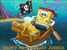 "PARTY PACK - SPONGEBOB SQUAREPANTS  PERSONALIZED 10 x 7.5"" ICING CAKE TOPPER"