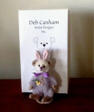 "DEB CANHAM ""PASCAL""  MINI MOHAIR MOUSE DRESSED AS LILAC/MAUVE BUNNY- 2 3/4"" TALL"