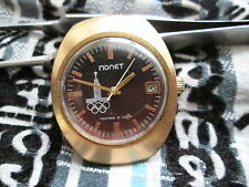 Vintage Soviet Wristwatch POLJOT   thong Plated GOLD Olympic Games 1980 AU 10