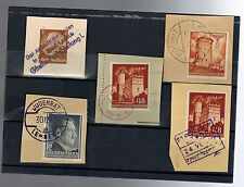 5 1940s Germany Ghetto Stamps on Pieces with Judenrat Cancels Judaica Lemberg