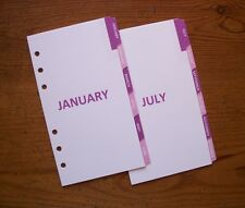 PERSONAL Monthly DIVIDERS - 'Rose Pink & Fuchsia' #718 - Fits Filofax - 12 tabs