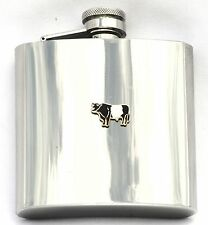 Belted Galloway Enamel 6 oz Hip Flask Farming Rare Breed Gift FREE ENGRAVING
