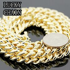 """30""""14K GOLD PLATED MIAMI CUBAN LINK CHAIN NECKLACE 10MM 180g A31"""