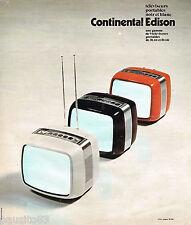 PUBLICITE ADVERTISING 065 1976  CONTINENTAL EDISON  téléviseur portable