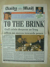 VINTAGE NEWSPAPER DAILY MAIL JANUARY 10th 1991 ON THE BRINK OF WAR WITH IRAQ