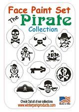 10 Piece Pirate Face Paint Stencil Set KIT Skulls Swords Treasure Chest Ship