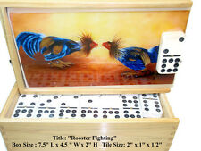 "Dominoes Set Double Nine ""Rooster"" Oil painting on Top. Dozen Art to Choose"