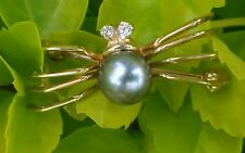 Vintage IPS 14k Yellow Gold Diamond Pearl Spider Brooch Pin Estate Jewelry Lady