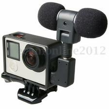 External Microphone Mic + Adapter + Standard Frame Case For GoPro Hero 4 3+ 3