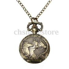 Vintage Copper Bronze Engrave 3 Horse Quartz Pocket Watch Chain Pendant Necklace