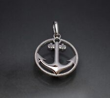14K Solid White Gold Anchor In Circle Luck Charm Pendant Necklace