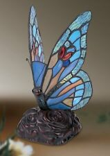 Blue Mosaic Butterfly Tiffany Stained Glass Bedside Table Light Lamp Home Decor