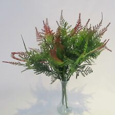 Set of 3 Artificial Green Fern Leaf Bushes With Red Tips - 35 cm -  7 Stems