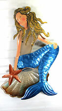 Mermaid on a Shell Metal & Glass Wall Art fantasy Home Decor