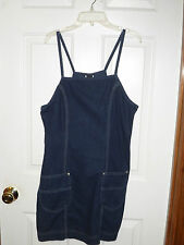 Dark Denim Wash Blue Jean Mini Spaghetti Strap Summer Dress Size 11 Lee Riveted