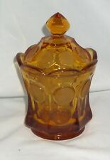 "Fostoria COIN FROSTED AMBER *6 1/2"" CANDY w/COVER*"