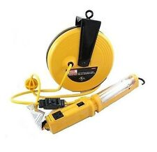 40 Ft Retractable Cord Reel W/13 Watts Flourescent Work Light - Trouble Lamp