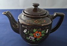 Brown Tea Pot  with Pink, Orange & White Flowers with Gold Trim Made in Japan
