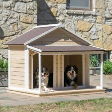 Duplex Dog House Outdoor Shelter Large Wood Kennel Houses Double Extra Flat Cage