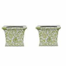 """Beautiful Pair Green and White Twisted Lotus Square Porcelain Flower Pot 6"""""""