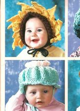 Baby Happy Hats Crochet Patterns Flower Bear Baseball Pumpkin Z01