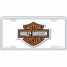 Offical Harley Davidson Motorcycles White Metal License Plate Sign Tag
