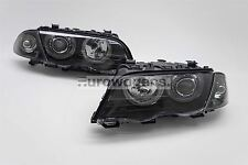 BMW 3 Series E46 4 Door 98-01 Black Projector Angel Eyes Headlights Set Pair