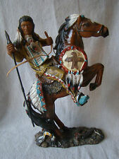 Resin Native American Man on Horse Figurine Great Detail 71609