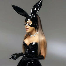 Sexy Black Latex Rubber Bunny Hood Mask For Catsuit Club Partr Holiday Wear