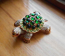 Signed Swan Swarovski Pave' Crystal Turtle Pin Brooch Retired Rare