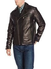 NEW Emanuel Ungaro Mens 2XLarge Lambskin Black Leather Asymmetrical Moto Jacket