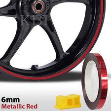 """6mm 1/4"""" Motorcycle Car Wheel Rim Pin Stripe Tape Sticker Metallic Red Chrome"""