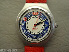 SWATCH MONTRE BRACELET IRONY BIG CUIR ROUGE HOMME PREPPIE YGS1001C BOY MAN WATCH