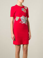 Carven red crane bird print dress in Small