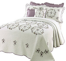 BEAUTIFUL WHITE GREEN PURPLE LAVENDER FLORAL QUILT BEDSPREAD XL OVER SIZED KING
