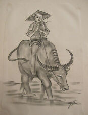 vintage original figural boy with bull Japanese signed ink drawing on white silk