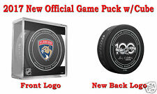 2017 Florida Panthers Official NHL Hockey Game Puck - New Back Logo w/Cube