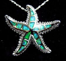 "Silver 925 Filled Pendant & Necklace Green Lab Fire Opal Large 1 1/4"" STARFISH"