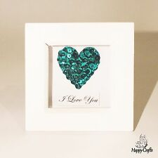 Sequin Heart Mini Personalised Quote Picture Frame Teal