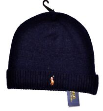 NEW RALPH LAUREN POLO MEN HAT BEANIE SKI MERINO WOOL NAVY SMALL PONY