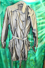 womans nylon Poly shiny grey raincoat with belt deep pockets rustling shimmer