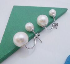 Free Shipping Womens 9K White Gold Filled & Imitation Pearl Earrings Stud Q72-a