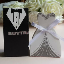 100x Wedding Favor Candy Boxes Bridal Groom Dress Tuxedo Party Ribbon Gift