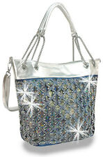 Blue and Rhinestone Accented  with Silver Layered Fashion Handbag with chains