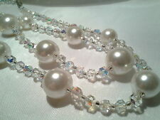 Vintage Estate Silver Austrian Crystal Glass Pearl Bead Deco Graduated Necklace