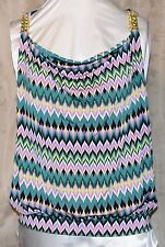 BABY PHAT AUTHENTIC GORGEOUS DRAPE NECK COWL TOP W/GOLD DETAIL X-BACK  2X NEW