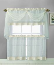 Linen Leaf Beige Vine Embroidered Kitchen Window Curtain Set, 4 pc.