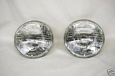 "7"" Halogen 6-Volt Sealed Beam Glass Headlight Head Light Lamp Bulbs Pair 6V"