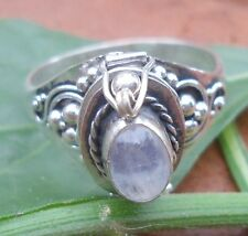 925 Solid Silver Balinese Style Poison Locket Ring & Rainbow Moonstone Siz 7-H68