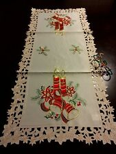 "16x72""Embroidered Christmas Tablecloth Candle Bell Table Runner Holiday Decor"